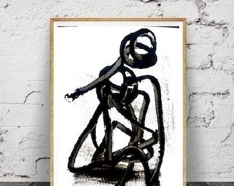 Peinture acrylique,minimaliste moderne, impression abstraite, , bleu marine, Brush Stroke Wall Art, imprimable en téléchargement numérique,