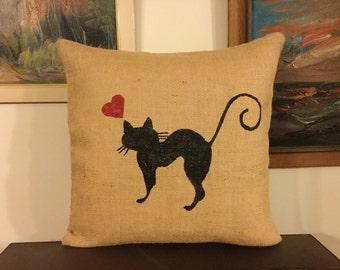 Burlap Cat Pillows, Cat Pillow, Burlap Pillow, Decorative Pillow,Cat Lover Gift, Black Cat Pillow, Animal Pillows, Country Farmhouse Decor