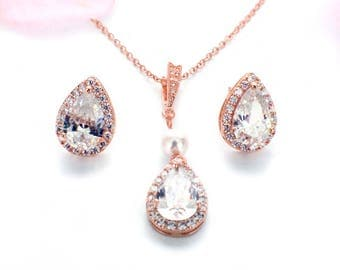 Teardrop necklace earring set, Rose Gold, bridesmaid jewelry set, wedding necklace, bridal jewelry set, bridesmaid gift, CZ necklace set