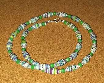 Handmade green - white - blue recycled paper bead necklace