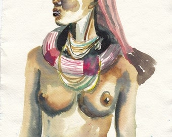 African woman, drawing in ink