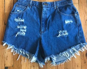 Vintage 90s High Waisted Distressed Denim Cutoff Shorts by Lizwear