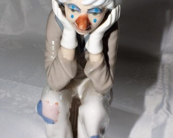 Lladro style Cascades Sad Clown Figurine