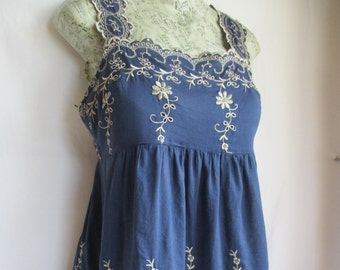 sale Embroidered  boho cotton tunic sz small pretty blue with ivory floral embroidery. shoulder straps and side zip add to the girly charm