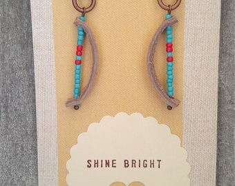 Gold Leather and Bronze Southwestern Earrings with Turquoise and Red Beading