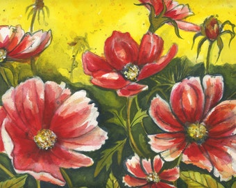Charming Cosmos wildflowers, Mother's Day gift, gift for her birthday gift, archival watercolor print, spring, summer, blueheronartstudio