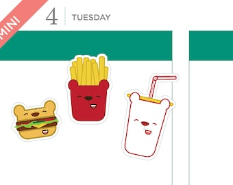 Burger bear stickers, fast food stickers, planner stickers, bear stickers, fries stickers – 32 MINI size stickers