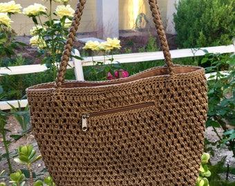 Vintage Cocoa Brown Macrame Shoulder bag