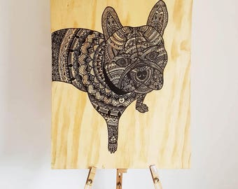 French Bull Dog Mandala Wooden Art
