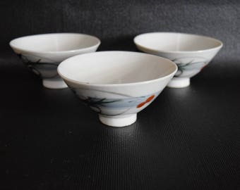 Set Of Three Asian Style Tea Cups
