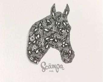 Original hand drawn, ink print illustration of a beautifully detailed Horse. Framed