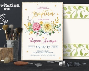 Floral Baptism Invitation. Flower Baptism Invitation, Great for any Baptism, Christening, Dedication ,First Communion. Girl Baptism