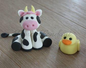 Fondant 3D Farm Animals, Edible Cake Topper Decoration