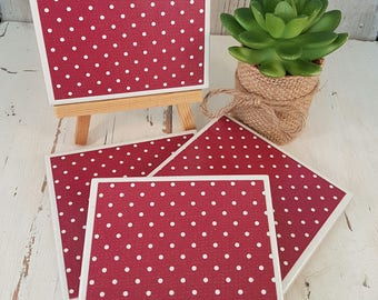 Tile Coasters - Red Dots