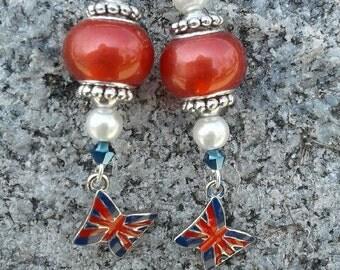 Union Jack with Murano beads earrings