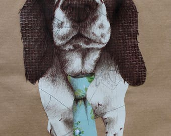 Handmade A4 Springer Spaniel mixed media Portrait Print