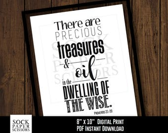Printable Print, Essential Oil Quote, Precious Treasures and Oil in the Dwelling of the Wise, Proverbs 21-20, Digital Download, Sku-REO101