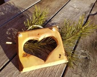 Pine frame handmade, carved with heart of Styria Austria