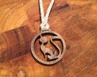 Laser cut walnut cat necklace