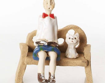 Unusual and Quirky Gift For Scotsmen | White West Highland Terrier | Scotsman sitting on the Bench | Book | Hand Made Quirky Ornament