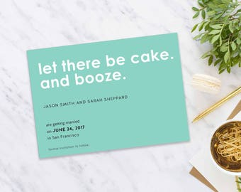 Save-The-Date postcard, Wedding Announcement Printable Save the Date, Save The Date Postcard- Turquoise Engagement Card- 5x7 Inch
