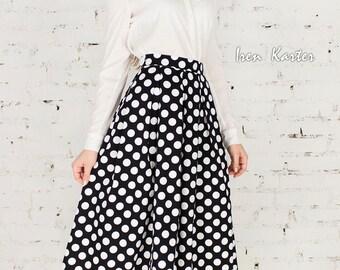 Polka dot skirt, Black-white skirt, Women's Skirt, Skirt, Long pleated skirt, Midi skirt, Classical fashion, Spring Skirt, Cotton Skirt.