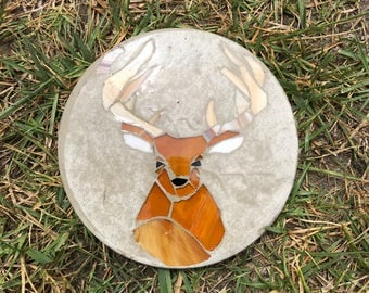 """Handmade Mosaic Woodland Stepping Stone - 8"""" Deer - Stained Glass"""