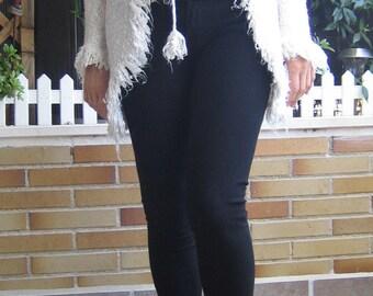 Long Wool Jacket Wool Jacket in White Color Wool Jacket Raw Color Jacket Comfortable Jacket with fringed Long Jacket