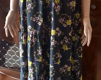 1970s Multi Coloured Floral Maxi Dress by Dolly Day  Approx UK 12