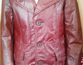 Vintage 70s Retro Style Leather Jacket Button Up Mid Length
