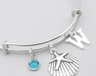 Sand dollar monogram charm bracelet | sand dollar bangle | personalised sand dollar bracelet | sand dollar jewelry | sand dollar gift