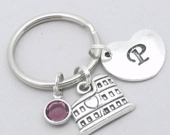 Colloseum heart initial keyring | colosseum keychain | personalised colosseum keyring | colosseum gift | Rome | Italy