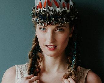 Natural Feather Swarovski Crystal Native american Indian Headdress feather headband Burning man Festival Crystal Crown Headpiece