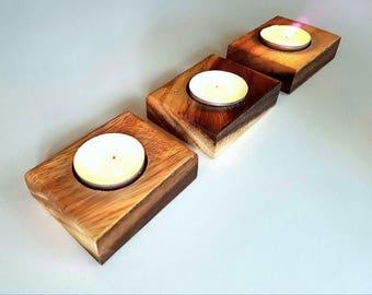 Custom crafted Acacia tealight candle holders