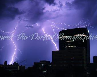 Lightning - Lightning Bolts - Thunder - Storm - Thunderstorm - Nature - Digital Photo - Digital Download - Building - Downtown - Florida