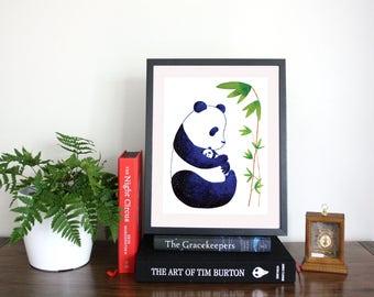 Panda wall art, panda, cute panda, cute panda bear, watercolour art, nursery print,nature lover gift,kawaii,cute art,animal lover gift ideas