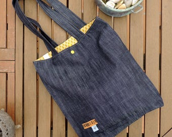 handmade tote bag, bag fabric cotton jeans + print inside
