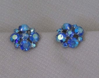 Vintage 50s Blue Crystal Cluster Women's Earrings