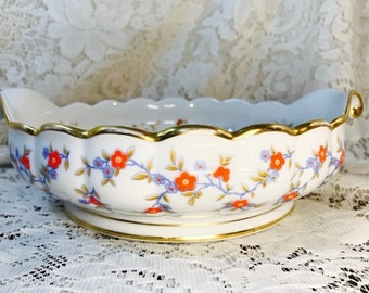 Vintage Thomas Bavaria China Dish - Blue and Red Flowers - Gold Trim