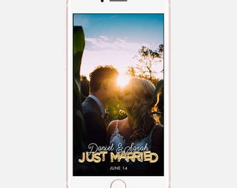 Just Married Geofilter, Snapchat Wedding Download, Geofilter Wedding Snapchat, On Demand Snapchat Geofilter, On Demand Geo Filters, Custom