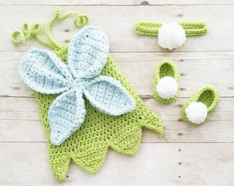Crochet Baby Tinkerbell Fairy Princess Inspired Dress Bow Headband Shoes  Set Handmade Disney Inspired Baby Shower