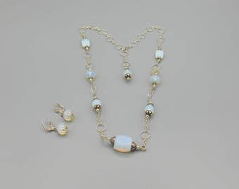 opalite sterling silver necklace and earrings