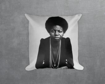 Nina Simone Decorative Pillow, Square pillow with\ without zipper