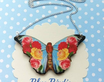 Butterfly necklace butterfly jewelry blue floral butterfly bib necklace butterfly jewellery butterfly gift blue floral butterfly necklace