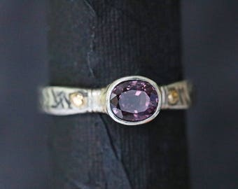 engagement ring solitaire ring dress ring statement ring spinel ring silver and gold ring purple stone ring gold and silver ring SP4