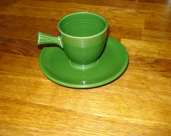 Vintage Fiestaware Forest Green Demitasse Cup and Saucer
