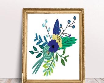 Blue Floral Art Print - Instant Download