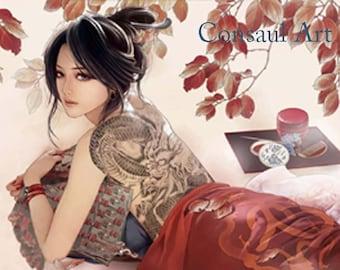Tattooed geisha from block print