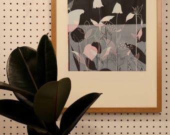 Flower botanical Lino Print Hand printed