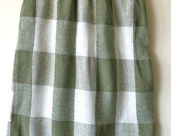 Vintage high waist green check body con pencil skirt UK XS